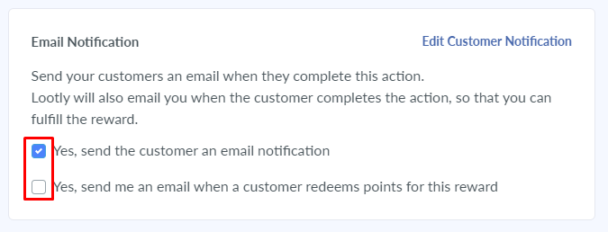 merchant notification option